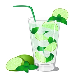 Cocktail with mint and lime vector