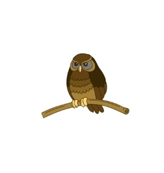 Cute hand-drawn horned little owl vector image vector image