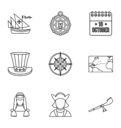 Discovery of america icons set outline style vector