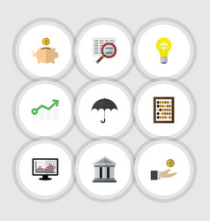 Flat icon finance set of chart growth scan and vector