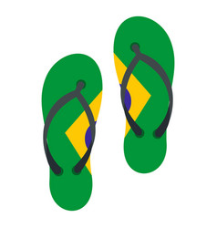 Flip flops in brazil flag colors icon isolated vector
