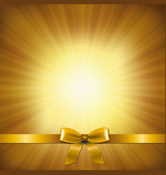 golden sunburst with golden ribbon and bow vector image vector image