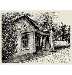 Hand drawing sketchy artistic village landscape vector