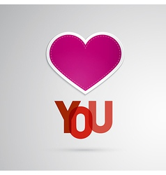 I Love You Theme Pink Heart on Grey Background vector image vector image