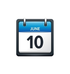 June 10 Calendar icon flat vector image