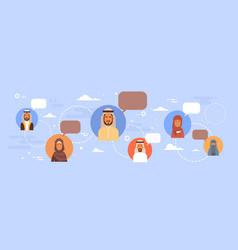 muslim people talking chat media communication vector image