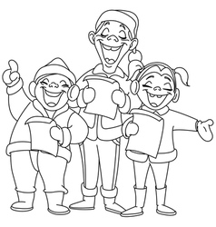 outlined christmas carolers vector image vector image