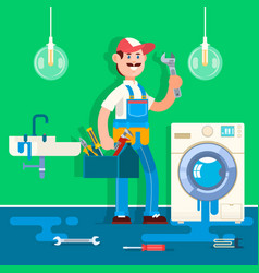 plumber repairing pipe on bathroom vector image vector image
