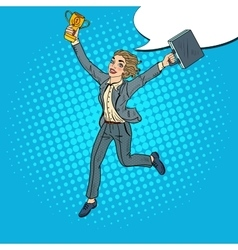 Pop art business woman with golden winner cup vector