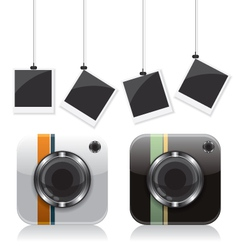 Retro camera icons and photo frame vector image