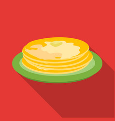 Russian pancakes icon in flat style isolated on vector