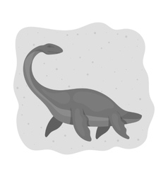 Sea dinosaur icon in monochrome style isolated on vector image vector image