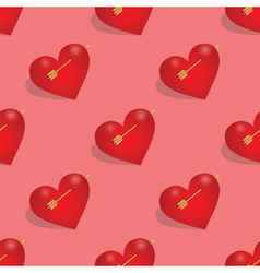 Seamless pattern of hearts with arrow vector image vector image