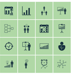 Set of 16 administration icons includes decision vector