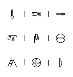 Set of 9 editable instrument outline icons vector