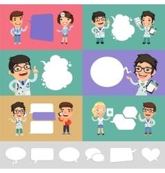 Set of a Speaking Cartoon Doctors vector image vector image