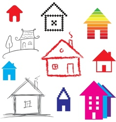 Simple stylized icon of houses vector image vector image
