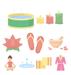 spa set icons in cartoon style big collection of vector image vector image