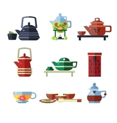 Tea cup and kettle set flat vector