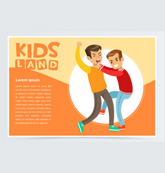 Two boys hitting each other on a fight teen kids vector