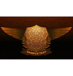vintage emblem with damask background vector image vector image