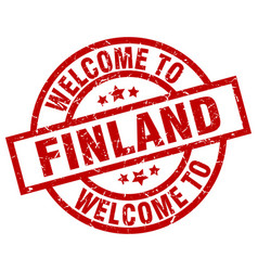 Welcome to finland red stamp vector
