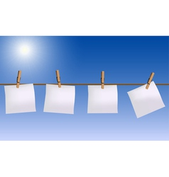 Four paper notes hanging on rope vector