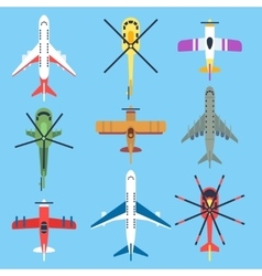 Airplane plane helicopter jet top view flat vector