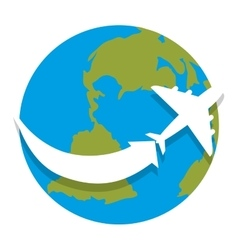 World planet earth with airplane isolated icon vector