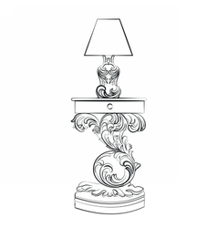 Royal lamp and comode table vector