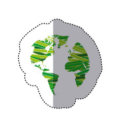 Sticker shading colorful continents with textile vector