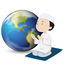 Muslim man in white outfit praying vector