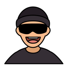 Thief avatar character icon vector