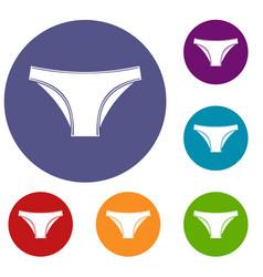 Female cotton panties icons set vector