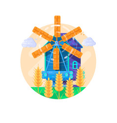 rural summer landscape with windmill vector image