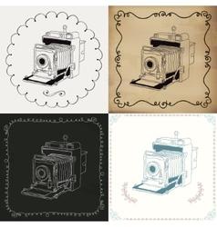Vintage hand-drawn camera variations vector