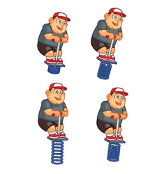 Fat boy jumping pogo sprite vector