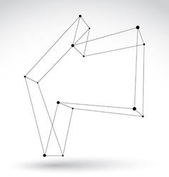 3d mesh monochrome backward arrow isolated on vector