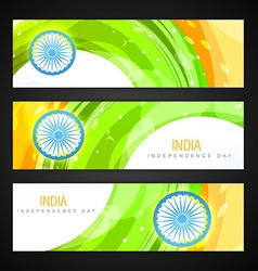 Indian flag headers set vector