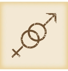 Grungy gender symbols icon vector
