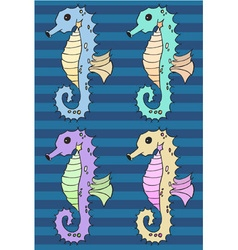 Seahorse cartoon set vector