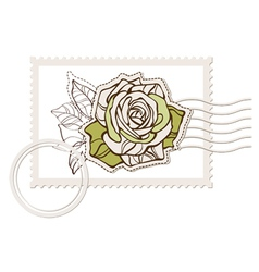 blank post stamp with rose vector image