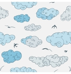 Blue clouds seamless pattern vector