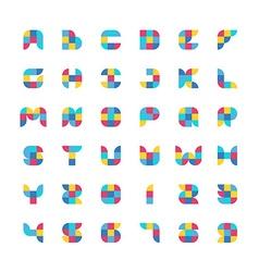 Colorful geometric flat color particles font vector
