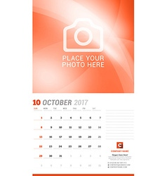 October 2017 wall monthly calendar for 2017 year vector