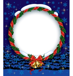 Holly wreath with bells vector