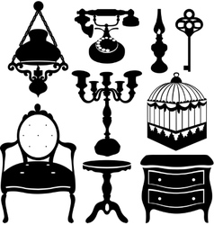 Vintage retro decor items vector