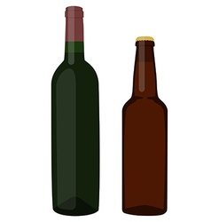 Beer and wine bottle vector image vector image