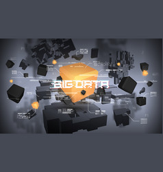big data abstract visualization futuristic vector image