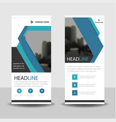 blue triangle roll up banner flat design template vector image vector image